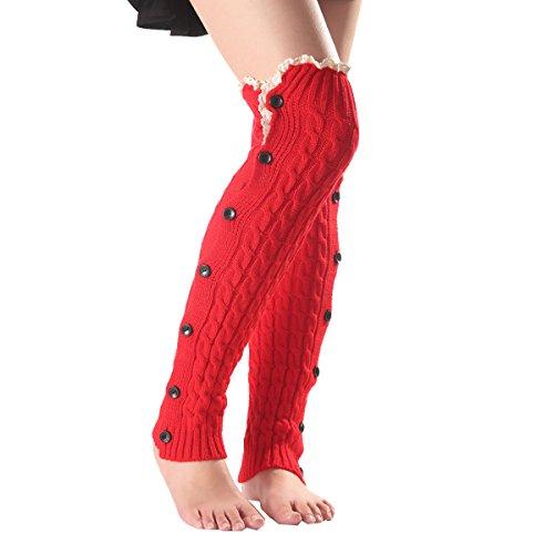 Surblue Women Knee High Crochet Knit Long Leg Warmers Wool Cute Lace Trim Button Boot Cuffs Button Trim Boot