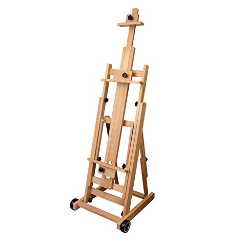 Large Floor Easel - US Art Supply Master Multi-Function Studio Artist Wood Floor Easel, 19