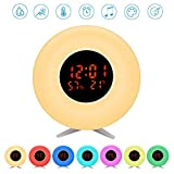 Pulchram 2019 Updated Wake Up Alarm Clock Night Light with Sunrise Simulator, Temperature, Humidity, 7 Colors Light,5 Natural Sound,Snooze Function, Beside Lamp for Heavy Sleepe