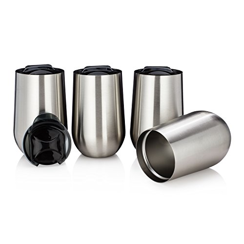 - Stainless Steel Stemless Wine Tumblers with Lids - Set of 4 - Wine Coffee Tea Tumblers - Double Walled Insulated 15 Oz with Lid - Shatterproof - BPA Free Healthy Choice - Dishwasher Safe - Best Value