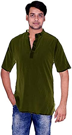 Lakkar Haveli Indian 100/% Cotton Men/'s Shirt Solid Kurta Bottle Green Color Plus Size Short Sleeve