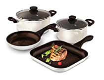 Lamart Ceramic Cookware Set 200X100mm, 240X110mm Casseroles, 20cm Pan, 26X26X4cm Grill Pan, Base Thickness 4.8mm White/ Brown