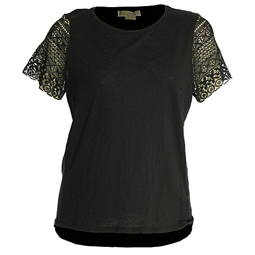 Jeans Kors Size Plus Michael (Michael Kors Women's Plus Short Crochet Sleeve Shirt 1x Black)