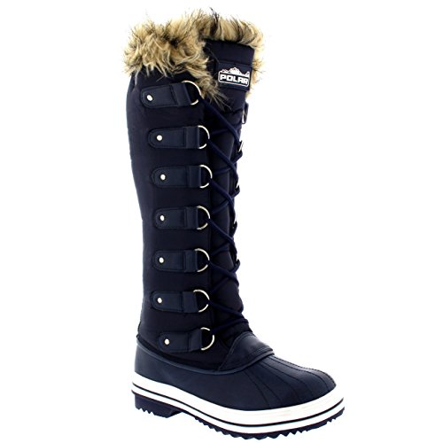 Womens Lace-up Rubberen Zool Kniehoge Winter Sneeuw Regen Schoenlaarzen Marine Nylon