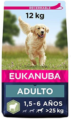 Eukanuba Alimento seco para perros adultos de razas grandes, rico en cordero y arroz, 12 kg