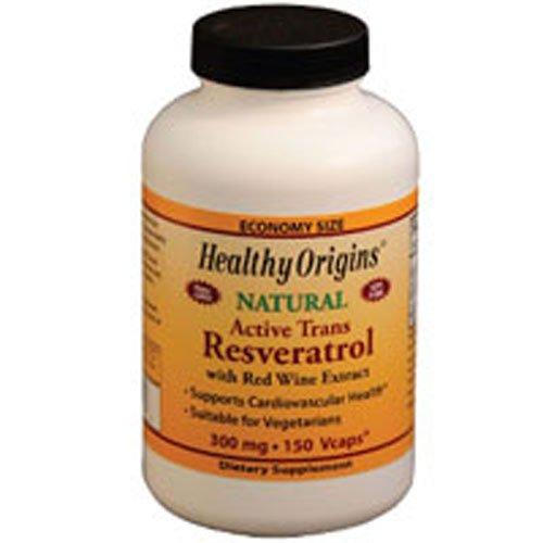 Healthy Origins Resveratrol 300milligram, 150vcaps (Pack of 4)