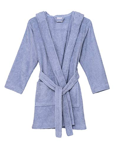 (TowelSelections Big Girls Robe, Kids Hooded Cotton Terry Bathrobe Cover-up Size 8 Cosmic Sky)