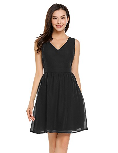 A-line Black Chiffon (Beyove Women Chiffon Summer A Line Pleated Cocktail Party Flare Dress(Black,L))