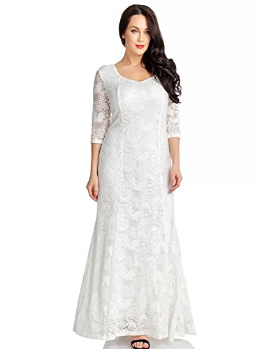 Utyful Women's White Floral Lace 3/4 Sleeves Sweetheart Neckline Formal Prom Wedding A Line Maxi Dress Size Medium (US 8-10)