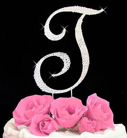 Letter T - Swarovski Crystal Monogram Wedding Cake Topper Letter - Swarovski Crystal Wedding Cake