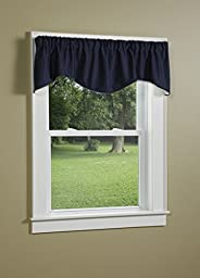 Green Mountain Vista Lined M-Style Valance with Self Corded Trim, Solid, 15 by 60-Inch, Blue