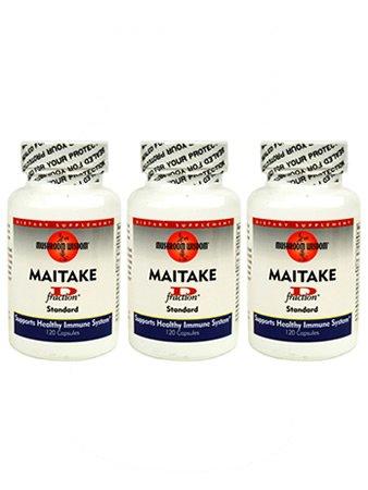 Maitake D-фракция грибов питательных капсул - 3 бутылки - 120 капсул Каждая - 90-дневный запас - лекарственных грибов Пищевая Травяные Иммунная Дополнение