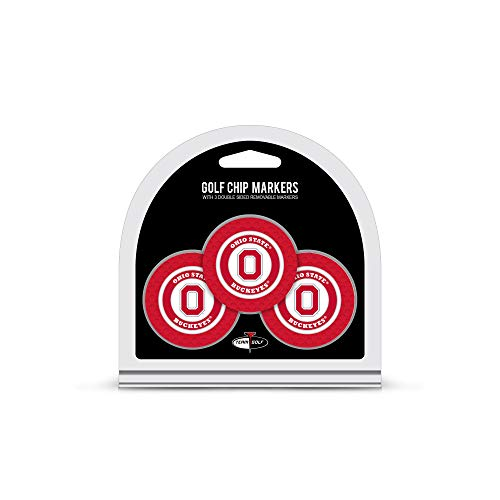 Team Golf NCAA Ohio State Buckeyes Golf Chip Ball Markers (3 Count), Poker Chip Size with Pop Out Smaller Double-Sided Enamel Markers