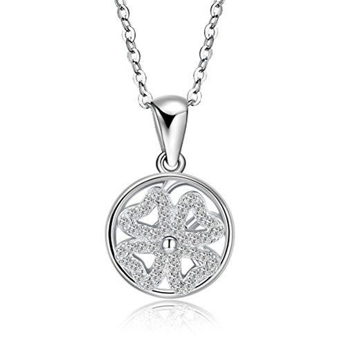 YJEdward 925 Silver Clover Necklace Lucky Flower Pendant Rotating Simulated Diamond Jewelry