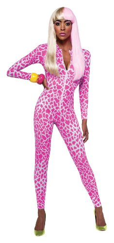 Nicki Minaj Halloween (Secret Wishes  Costume Nicki Minaj Collection Giraffe Print Jumpsuit, Pink/White, X-Small)