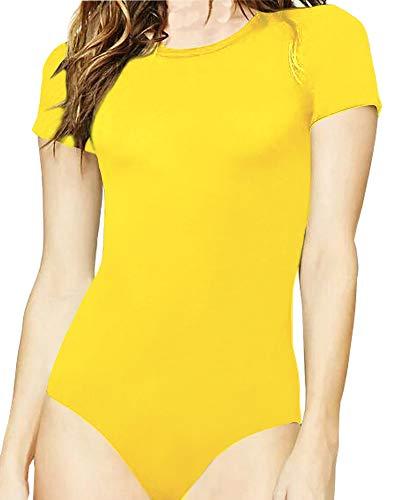 MANGOPOP Women's Round Neck T Shirts Basic Bodysuits (Yellow, X-Small)