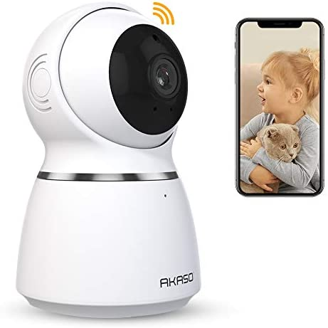 AKASO Baby Monitor WiFi Camera, 1080P Pet Camera Dog Camera, 360 navigation, 3D Positioning, Indoor Home Security Camera, Pan Tilt, Motion Detect Alarm, 2-Way Audio, Privacy Secure, Motion Tracker
