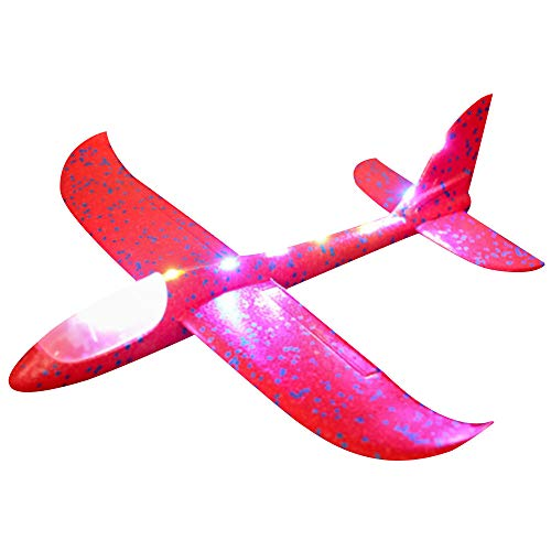 Foam Throwing Glider Airplane Inertia LED Aircraft Toy Hand Launch Airplane Model Aeroplane Throwing Plane LED Gliders DIY Aircraft Intelligence Toys For Adults Kids (Red) ()