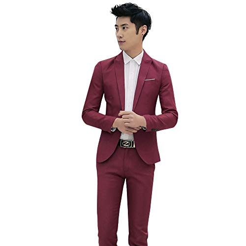 (Clearance!Men's 2 Pieces Suit Elegant Solid One Button Slim Fit Single Breasted Party Blazer Coat Jacket Pants Set)