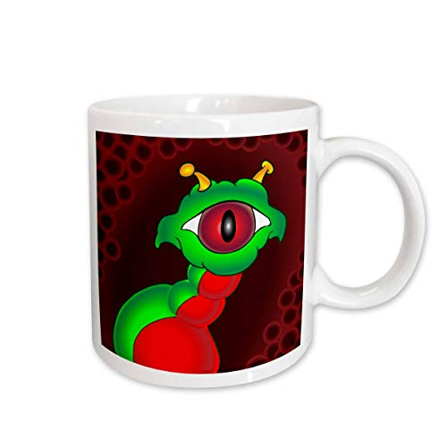 3dRose Mark Grace GRACEVISIONS Aliens And UFOs - ALIENS AND UFOS alien creeper full bleed - 15oz Mug ()