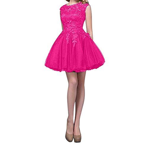 Charmant Damen Kurzes Tanzenkleider Elfenbein Spitze Abendkleider Mini Tuell Pink Abiballkleider Promkleider rCdrTqwx