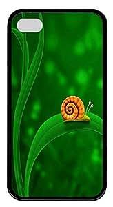 iPhone 4 4S Case Orange Snail TPU Custom iPhone 4 4S Case Cover Black