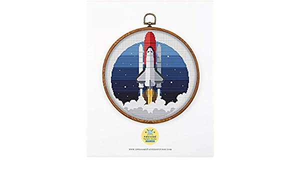 No Fabric Space Rocket K509 Counted Cross Stitch Pattern Hoops 4 Printed Schemes Inside Threads Needles Embroidery Pattern