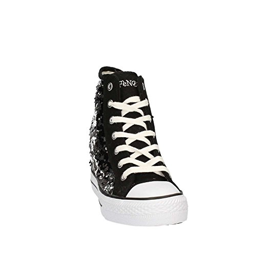 Cafè Noir Sneaker femmes Wedge Cm 7 Paillettes Noir Argent_38