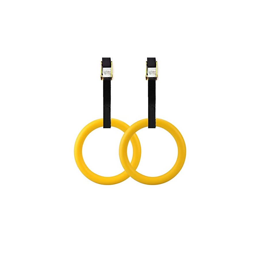 ActionEliters Gymnastic Rings with Adjustable Straps Heavy Duty 15 Feet Strap w/ Metal Buckles For Gym, Crossfit, Full Body Strength, Gymnastics, Fitness, Pull Ups and Dips