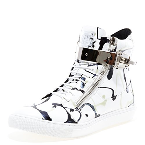 Jump J75 By Mens Zeus Ronde Neus Leather Lace-up High-top Sneaker Zwart Wit Jp