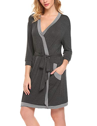 Robe Shawl Collar Wrap 3/4 Sleeve Bathrobe Sleepwear with Belt Cotton Sleepwear ()