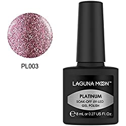 Lagunamoon Gel Nail Polish, Soak Off UV LED Nail Varnish, Shiny Manicure Platinum Color Gel Polish - Bridesmaid Pink