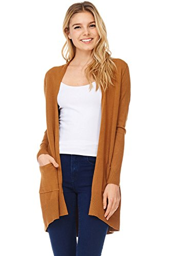 A+D Womens Basic Open Front Knit Cardigan Sweater Top W/ Pockets (Mustard, Medium/Large) (Knit Cardigan Sweater Top)