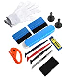 GISSVOGEEK Car Window Tint Film Tool Kits, Vinyl Wrap Tint Kit, 12 in 1 Window Tint Installation Kit Felt Squeegee&Felts, Vinyl Wrap Gloves, Car Graphics Wallpaper Smoothing Tool for Auto