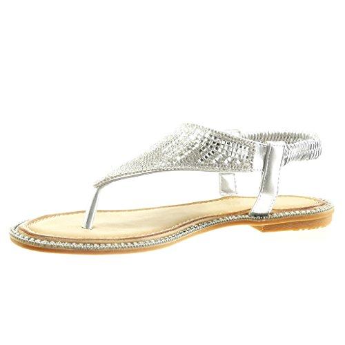 Angkorly - Chaussure Mode Sandale slip-on ouverte femme bijoux strass diamant Talon plat 1 CM - Argent