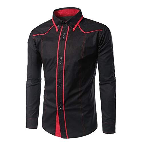 Dress Shirt Premium Casual Inner Contrast Fashion Slim Solid Button Turn-Down Collar Long Sleeve T-Shirt Tops Men (XXL,Black) -
