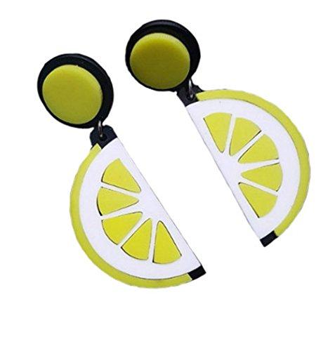 ASKANA Fashion Women`s Acrylic Yellow Lemon Segment Stud Earrings