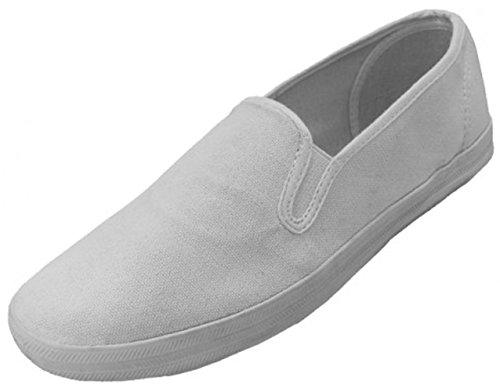 G4u-es E16m Heren Loafers Sneakers Canvas Slip Op Mode Comfort Casual Gore Skate Deck Schoenen, Zwart, Marine, Wit Wit