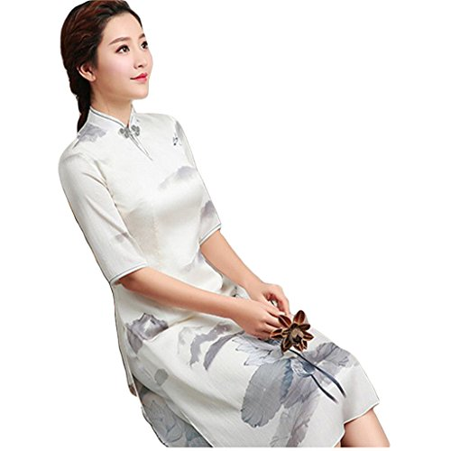 Qipao Retro Cheongsam Improved Cheongsam Medium cheongsam Slim dress Summer by YY-Chipao