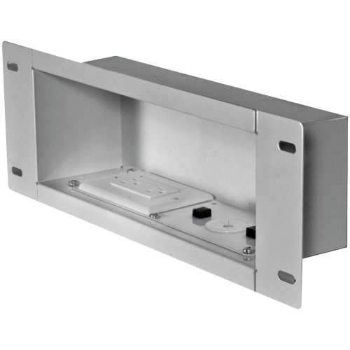 Medium In Wall Box - Peerless IBA3AC-W In-Wall Metal Box With Knock Out and Power Outlet (Medium)