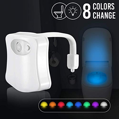 Toilet Night Light, Motion Activated LED Toilet Bowl Light,2 Modes with 8 Color Changing LED Night Light, Motion Sensor LED Toilet Seat Light,Bathroom Light,Perfect Decoration-Fit Any Toilet