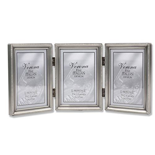 Lawrence Frames Antique Pewter Hinged Triple 3x5 Picture Frame - Beaded Edge Design (Photo Frames 3x5)