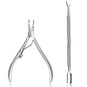 Cuticle Nipper with Cuticle Pusher- Professional Grade Stainless Steel Cuticle Remover and Cutter - Durable Manicure and Pedicure Tool - Beauty Tool Perfect for Fingernails and Toenails- Single Spring