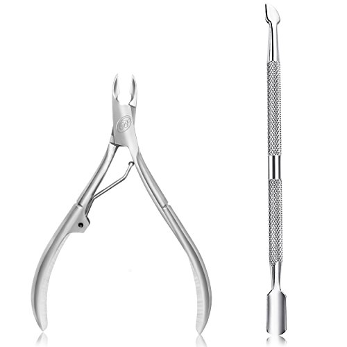 Cuticle Nipper with Cuticle Pusher-Professional Grade Stainless Steel Cuticle Remover & Cutter-Durable Manicure and Pedicure Tool-Beauty Tool Perfect for Fingernails and Toenails