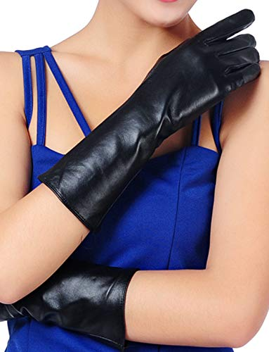 - May&Maya Womens Winter Long Evening Dress Texting Touchscreen Leather Gloves Sleeves Fleece Lined Ruched Elbow Length Costume (Black, M)