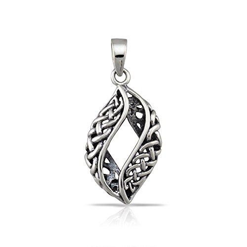 WithLoveSilver Sterling Silver 925 Charm Filigree Cut Out Curve Drop Celtic Pendant