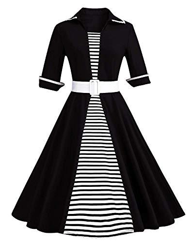 Wellwits Women's 50s Belt 3/4 Sleeves Stripes Formal A Line Work Dress Black XXL -