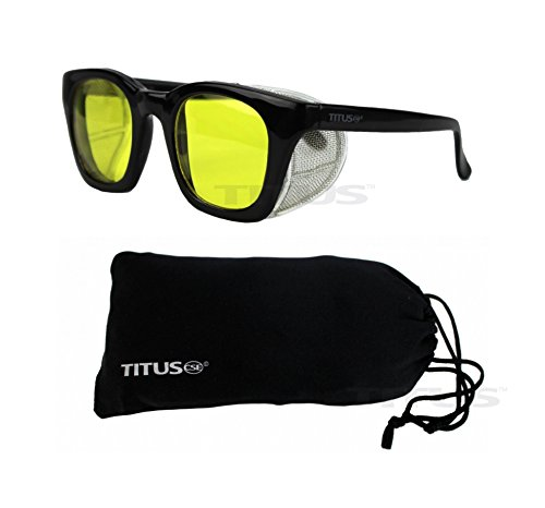 Titus G12 Retro Style Safety/Riding Glasses (With Pouch, Yellow Lens - Gloss - Coupon Global Lens