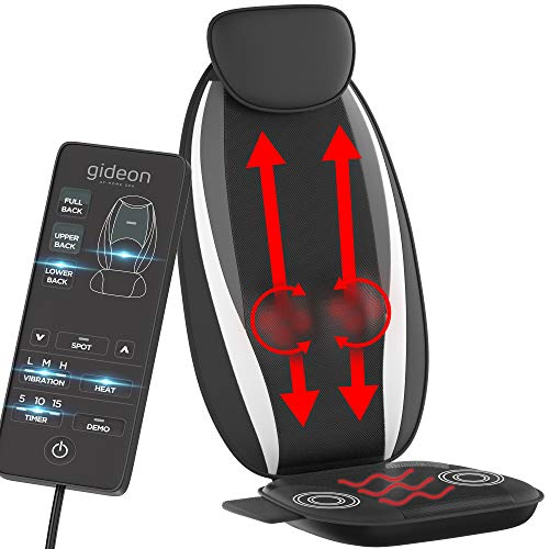 Shiatsu Back Massager Seat Cushion with Heat and Bottom Motors - Luxury Full Back Massage Cushion by Gideon