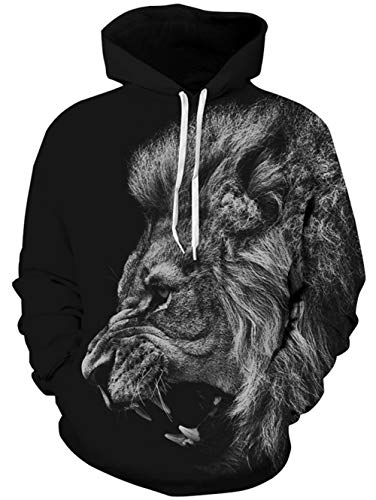 TUONROAD 3D Digital Printing Animal Big Face Hoodies Jacket Solid Black Grey Hairy Roaring Lion with Sharp Teeth Plus Size Long Sleeve Hip Hop Graphic Hooded Pullover Cool Premium Quality -